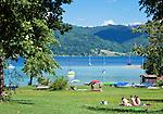Austria, Upper Austria, Salzkammergut, Altenberg: lawn and swimming spot at lake Attersee | Oesterreich, Oberoesterreich, Salzkammergut, Altenberg: Liegewiese und Badeplatz am Attersee