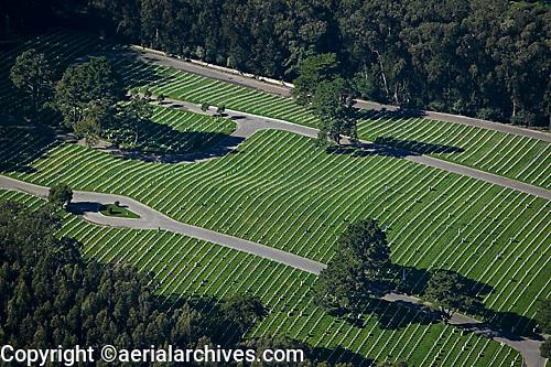 aerial photograph of the National Cemetery, Presidio, San Francisco, California