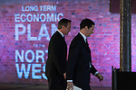 © Joel Goodman - 07973 332324 .  08/01/2015 . Manchester , UK . The pair leave the room after delivering their speeches . The British Prime Minister , David Cameron , and the Chancellor of the Exchequer , George Osborne , deliver speeches on the economy and on the economic development and devolution of powers to the North West of England at the Old Granada Studios , Quay Street , Manchester . Photo credit : Joel Goodman