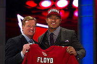 The 13th overall pick wide receiver Michael Floyd (Notre Dame) of the Arizona Cardinals with NFL commissioner Roger Goodell during the first round of the 2012 NFL Draft at Radio City Music Hall in New York, NY, on April 26, 2012.