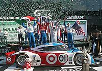 30 January 2011: Memo Rojas, Graham Rahal, Joey Hand and Scott Pruett celebrate in victory lane, Rolex 24 at Daytona, Daytona International Speedway, Daytona Beach, FL (Photo by Brian Cleary/www.bcpix.com)