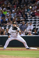 Charlotte Knights first baseman Nicky Delmonico (10) waits for a throw during the game against the Indianapolis Indians at BB&T BallPark on June 17, 2016 in Charlotte, North Carolina.  The Knights defeated the Indians 4-0.  (Brian Westerholt/Four Seam Images)