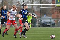 Frieke Temmerman (17) of Club Brugge and Lotte De Wilde (19) of Zulte-Waregem pictured during a female soccer game between SV Zulte - Waregem and Club Brugge YLA on the 13 th matchday of the 2020 - 2021 season of Belgian Scooore Womens Super League , saturday 6 th of February 2021  in Zulte , Belgium . PHOTO SPORTPIX.BE | SPP | DIRK VUYLSTEKE