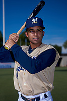 AZL Brewers Gold Felix Valerio (25) poses for a photo before an Arizona League game against the AZL Brewers Blue on July 13, 2019 at American Family Fields of Phoenix in Phoenix, Arizona. The AZL Brewers Blue defeated the AZL Brewers Gold 6-0. (Zachary Lucy/Four Seam Images)