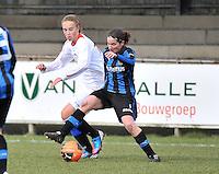 Club Brugge Dames - Heerenveen : duel met Lore Dezeure (rechts)<br /> foto Joke Vuylsteke / nikonpro.be
