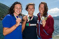 5 km donne <br /> da sinistra Arianna Bridi e Rachele Bruni Esercito e Aurora Ponsele Fiamme Oro<br /> Omegna, Lago D'Orta<br /> FIN 2016 Campionato Italiano Assoluto Nuoto di Fondo <br /> <br /> Day 01   10-06-2016<br /> Photo Laura Binda/Deepbluemedia/Insidefoto
