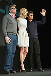 Christopher McQuarr, Rosamundo Pike and Tom Cruise, Jan 09, 2013 : Tokyo, Japan - American film star Tom Cruise, right, appears with Rosamundo Pike and director Christopher McQuarri during a news conference at a Tokyo hotel on Wednesday, January 9, 2013, promoting the premier of his latest action film which sees the 50-year-old actor at his action-packed best.  (Photo by Natsuki Sakai/AFLO) AYF -mis-.