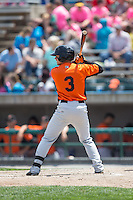 Adrian Marin (3) of the Frederick Keys at bat against the Lynchburg Hillcats at Calvin Falwell Field at Lynchburg City Stadium on May 14, 2015 in Lynchburg, Virginia.  The Hillcats defeated the Keys 6-3.  (Brian Westerholt/Four Seam Images)