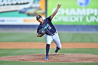 Asheville Tourists starting pitcher Juan Pablo Lopez (18) delivers a pitch during a game against the Brooklyn Cyclones on May 8, 2021 at McCormick Field in Asheville, NC. (Tony Farlow/Four Seam Images)