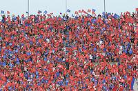 MEDELLÍN -COLOMBIA-25-04-2015. Hinchas de Independiente Medellín animan a su equipo durante el encuentro con Atlético Junior por la fecha 17 de la Liga Águila I 2015 jugado en el estadio Atanasio Girardot de la ciudad de Medellín./ Fans of Independiente Medellin cheer their team during the march against Atletico Junior for the  17th date of the Aguila League I 2015 at Atanasio Girardot stadium in Medellin city. Photo: VizzorImage/León Monsalve/STR