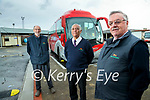 Michael Connell, Castleisland, Alan Akinyemi, Tralee and Tom Prendeville, Castleisland, Bus Eireann drivers who retired on Friday.