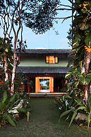 tropical beach house and yard