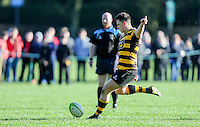 Saturday 4th February 2017 | RBAI vs BALLYCLARE HIGH SCHOOL<br /> <br /> James Hume converts during the Ulster Schools' Cup clash between RBAI and Ballyclare High School at  Cranmore Park, Belfast, Northern Ireland.<br /> <br /> Photograph by www.dicksondigital.com