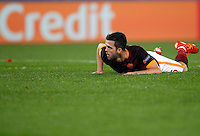 Calcio, Champions League: Gruppo E - Roma vs Bate Borisov. Roma, stadio Olimpico, 9 dicembre 2015.<br /> Roma's Miralem Pjanic lies on the pitch during the Champions League Group E football match between Roma and Bate Borisov at Rome's Olympic stadium, 9 December 2015.<br /> UPDATE IMAGES PRESS/Riccardo De Luca