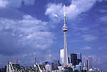 Toronto CN Tower reflection architecture buildings downtown Ontario Canada construction cranes<br />
