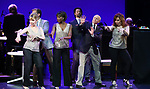 """Ivy Austin, Hugh Panaro, Housso Semon, Andrew Fitch, Hal Shane, Debbie Gravitte during the curtain call bows for """"They're Playing Our Song"""" Concert Benefit for The Actors Fund at the Music Box Theatre on February 11, 2019 in New York City."""