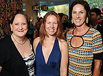 From left: Deborah Dunkum, Tara Conley and Heidi Gerger at  a reception at the home of Jereann Cheney announcing the Houston exhibition of Ai Weiwei's Circle of Animals / Zodiac HeadsWednesday May 25,2011.(Dave Rossman/For the Chronicle)