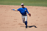 Toronto Blue Jays shortstop Kevin Vicuna (58) throws to first base during a Florida Instructional League game against the Philadelphia Phillies on September 24, 2018 at Spectrum Field in Clearwater, Florida.  (Mike Janes/Four Seam Images)