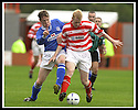 5/10/02       Copyright Pic : James Stewart                     .File Name : stewart-hamilton v stranraer 11.ALAN JENKINS AND JIM SHERRY CHALLENGE FOR THE BALL....James Stewart Photo Agency, 19 Carronlea Drive, Falkirk. FK2 8DN      Vat Reg No. 607 6932 25.Office : +44 (0)1324 570906     .Mobile : + 44 (0)7721 416997.Fax     :  +44 (0)1324 570906.E-mail : jim@jspa.co.uk.If you require further information then contact Jim Stewart on any of the numbers above.........
