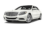 Stock pictures of low aggressive front three quarter view of 2017 Mercedes Benz S-Class Maybach 4 Door Sedan Low Aggressive