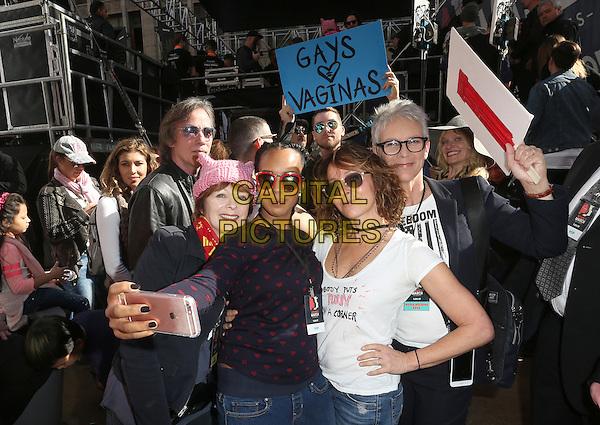 ALos Angeles CA - JANUARY 21: Frances Fisher, Kerry Washington, Jennifer Grey, Jamie Lee Curtis, At Women's March Los Angeles, At Downtown Los Angeles In California on January 21, 2017. <br /> CAP/MPI/FS<br /> ©FS/MPI/Capital Pictures