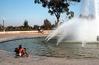 San Diego: Balboa Park--Kids at Fountain.  (Photo 1984)