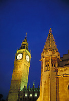 Big Ben & Parliament at night. London, England. London, England.