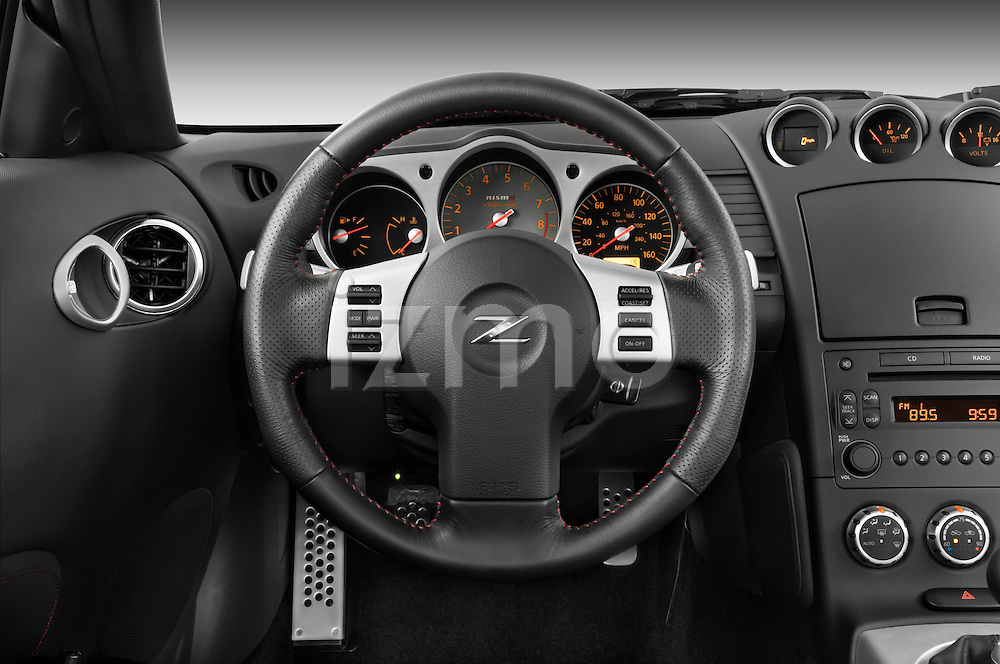 Steering wheel view of a 2008 Nissan 350z Coupe Nismo