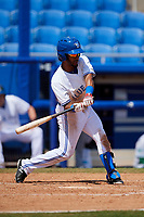 Dunedin Blue Jays third baseman Ivan Castillo (1) swings at a pitch during a game against the Daytona Tortugas on April 22, 2018 at Dunedin Stadium in Dunedin, Florida.  Daytona defeated Dunedin 5-1.  (Mike Janes/Four Seam Images)