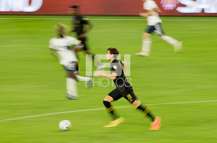 LOS ANGELES, CA - SEPTEMBER 23: Francisco Ginella #8 of the Los Angeles football club of LAFC dribbles the ball during a game between Vancouver Whitecaps and Los Angeles FC at Banc of California Stadium on September 23, 2020 in Los Angeles, California.