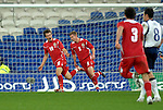 International Friendly match between Wales and Scotland at the new Cardiff City Stadium : Wales' Aaron Ramsey celebrates his goal with fellow goalscorer Simon Church (9).