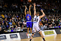 Kenneth Tuffin of the Wellington Saints shoots the ball during the round one NBL match between the Wellington Saints and the Canterbury Rams at TSB Bank Arena, Wellington, New Zealand on Friday 30 April 2021.<br /> Photo by Masanori Udagawa. <br /> www.photowellington.photoshelter.com
