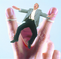 Illustrated picture of a man being shot, man, elastic fingers.