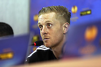 Wednesday 26 February 2014<br /> Pictured: Manager Garry Monk during the press conference<br /> Re: Swansea City FC press conference and training at San Paolo in Naples Italy for their UEFA Europa League game against Napoli.