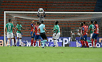MEDELLIN - COLOMBIA, 25-02-2021: Andres Mosquera Marmolejo arquero del Medellín en acción durante el por la fecha 9 entre Deportivo Independiente Medellín y Deportivo Cali como parte de la Liga BetPlay DIMAYOR I 2021 jugado en el estadio Atanasio Girardot de la ciudad de Medellín. / Andres Mosquera Marmolejogoalkeeper of Medellin in action during match for the date 9 between Deportivo Independiente Medellin and Deportivo Cali as part of the BetPlay DIMAYOR League I 2021 played at Atanasio Girardot stadium in Medellin city. Photo: VizzorImage / Luis Benavides / Cont