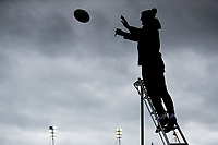 28th March 2021; Mattoli Woods Welford Road Stadium, Leicester, Midlands, England; Premiership Rugby, Leicester Tigers versus Newcastle Falcons; Leicester Tigers Head Coach Steve Borthwick is silhouetted whilst catching line out practice throws in the pre-match warm-up
