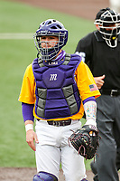 LSU Tigers catcher Alex Milazzo (20) peers into the dugout against the Tennessee Volunteers on Robert M. Lindsay Field at Lindsey Nelson Stadium on March 28, 2021, in Knoxville, Tennessee. (Danny Parker/Four Seam Images)