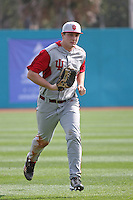 Alex Dickerson #12 of the University of Indiana Hoosiers running in from the outfield between innings during a game against the Virginia Tech Hokies at Watson Stadium at Vrooman Field in Conway, South Carolina on February 18, 2011. Photo by Robert Gurganus/Four Seam Images
