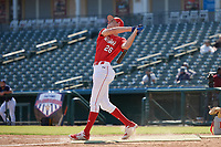 Benny Montgomery (26) participates in the home run derby before the Baseball Factory All-Star Classic at Dr. Pepper Ballpark on October 4, 2020 in Frisco, Texas.  Benny Montgomery (26), a resident of Lewisberry, Pennsylvania, attends Red Land High School.  (Mike Augustin/Four Seam Images)