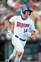 Buffalo Bisons designated hitter Mike Ohlman (14) runs to first base during a game against the Syracuse Chiefs on July 3, 2017 at Coca-Cola Field in Buffalo, New York.  Buffalo defeated Syracuse 6-2.  (Mike Janes/Four Seam Images)