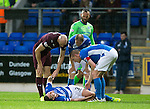 St Johnstone v Hearts…10.08.16..  McDiarmid Park…BetFred Cup<br />Tam Scobbie lies injured after beign fouled by Conor Sammon<br />Picture by Graeme Hart.<br />Copyright Perthshire Picture Agency<br />Tel: 01738 623350  Mobile: 07990 594431