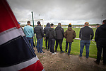 Holker Old Boys 2 Crook Town 1, 10/10/2020. Rakesmoor, FA Vase second round qualifying. Visiting supporters watching the early action as Holker Old Boys take on Crook Town in an FA Vase second round qualifying tie at Rakesmoor, Barrow-in-Furness. The home club was established in 1936 as Holker Central Old Boys and was initially an under-16 team for former pupils of the Holker Central Secondary School. Holker from the North West Counties League beat their Northern League opponents 2-1, watched by a crowd of 147 spectators. Photo by Colin McPherson.