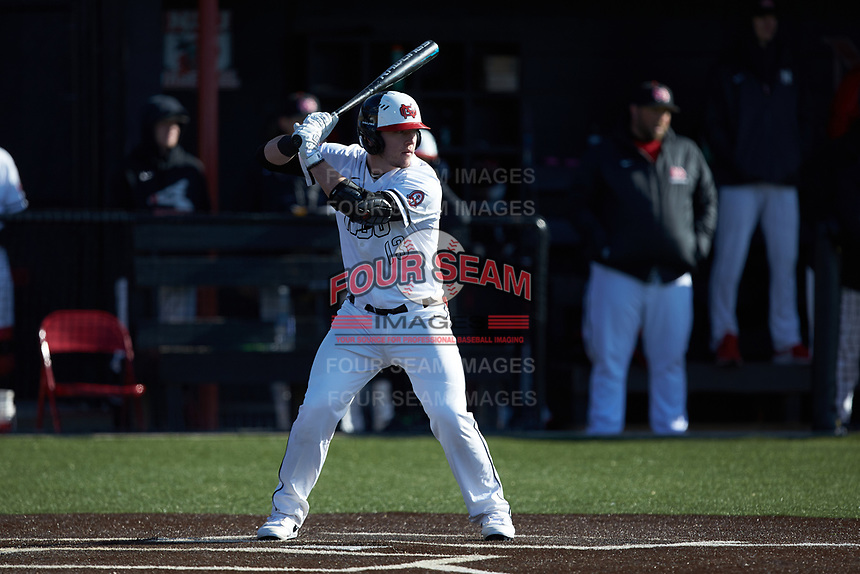 John Michael Faile (13) of the North Greenville Crusaders at bat against the Bellarmine Knights at Ashmore Park on February 7, 2020 in Tigerville, South Carolina. The Crusaders defeated the Knights 10-2. (Brian Westerholt/Four Seam Images)