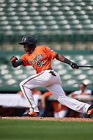 Baltimore Orioles third baseman Jean Carlos Encarnacion (82) grounds out during a Florida Instructional League game against the Pittsburgh Pirates on September 22, 2018 at Ed Smith Stadium in Sarasota, Florida.  (Mike Janes/Four Seam Images)