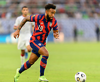 AUSTIN, TX - JULY 29: Eryk Williamson #19 of the United States races up the field with the ball during a game between Qatar and USMNT at Q2 Stadium on July 29, 2021 in Austin, Texas.