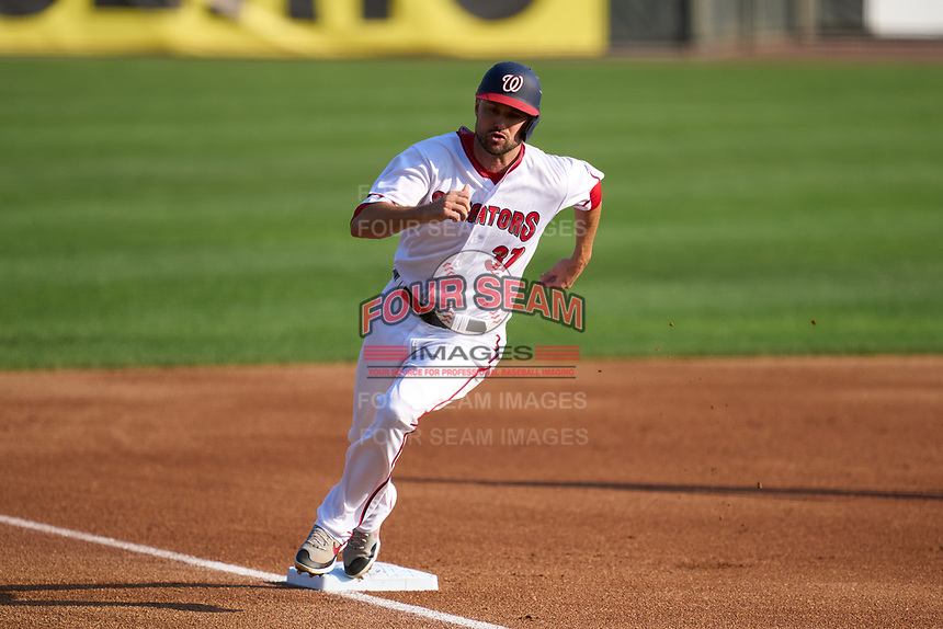 Harrisburg Senators Jordy Mercer (37), on rehab assignment from the Washington Nationals, rounds third base during a game against the Bowie Baysox on September 8, 2021 at FNB Field in Harrisburg, Pennsylvania.  (Mike Janes/Four Seam Images)