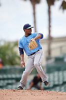 Tampa Bay Rays pitcher Orlando Romero (82) delivers a pitch during an Instructional League game against the Baltimore Orioles on October 2, 2017 at Ed Smith Stadium in Sarasota, Florida.  (Mike Janes/Four Seam Images)