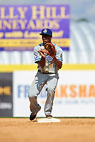 Hartford Yard Goats shortstop Luis Jean (17) catches a throw before turning a double play to end the bottom of the eighth inning during a game against the Binghamton Rumble Ponies on July 9, 2017 at NYSEG Stadium in Binghamton, New York.  Hartford defeated Binghamton 7-3.  (Mike Janes/Four Seam Images)
