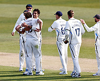 David Willey (L) is congratulated after taking the final Kent wicket to win the game for Yorkshire during Kent CCC vs Yorkshire CCC, LV Insurance County Championship Group 3 Cricket at The Spitfire Ground on 18th April 2021