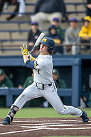 Michigan Wolverines outfielder Jesse Franklin (7) follows through on his swing in the NCAA baseball game against the Michigan State Spartans on May 7, 2019 at Ray Fisher Stadium in Ann Arbor, Michigan. Michigan defeated Michigan State 7-0. (Andrew Woolley/Four Seam Images)